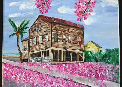 acrylic on canvas - this old house - belize